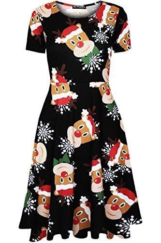 Be Jealous Damen Weihnachten Weihnachtsmann Bulldog Weihnachtspudding Damen Elfen Bulldogge Lebkuchen Midi Skaterkleid Santa Rentier