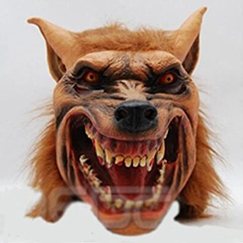 Halloween Stiefel Tier Masken Horror Mit Wolf Kopf Simulation Latex Wolf Kopf Gelbe Haar Wolf Maske