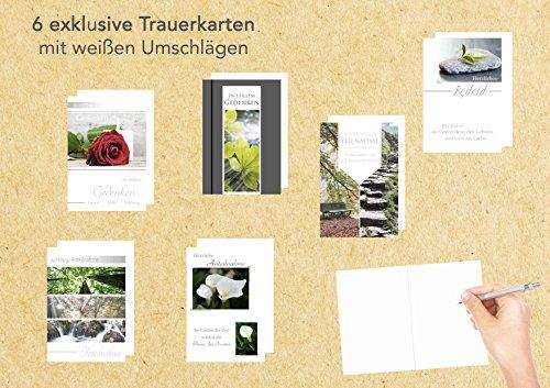 Set 6 exklusive Premium Trauerkarten/Beileidskarten mit Umschlag. Trauerkarte Beileidskarte mit Spruch schreiben (Doppelkarten/Klappkarten mit Briefumschlag)