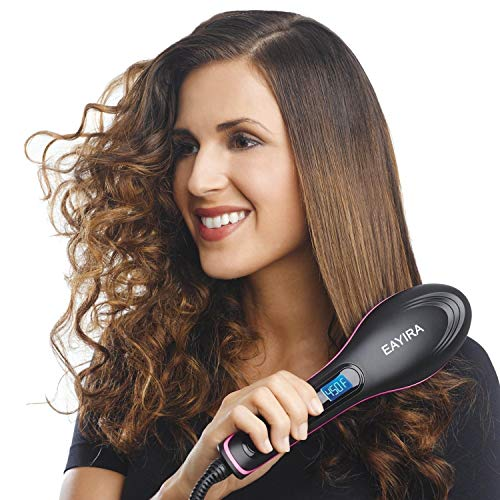 EAYIRA Professional Ceramic Straightening Hair Straightener Brush with Temperature Control for Women, hair straightener for women, hair straighteners, hair straightener electric brush (Black)