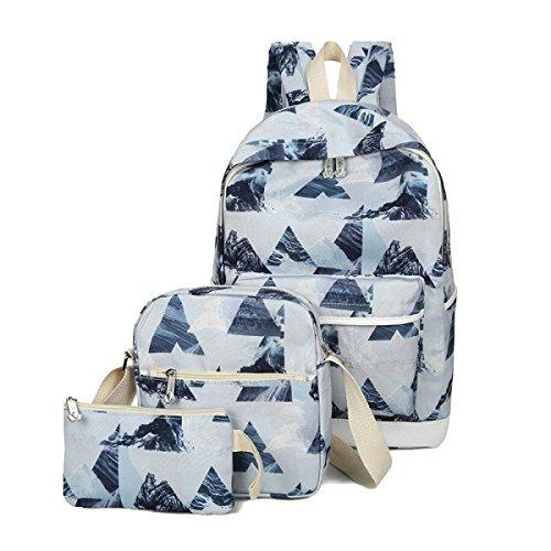 ADEMI Les Femmes 3 Pièces Toile Modèle Triangle Filles Sac Sac à Dos Multicolore,Blue2-OneSize