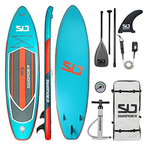 Swonder i-SUP aufblasbares Stand Up Paddle Board Set Robust| 320cm *81cm *15cm|Drop Stich 12800/m²|mit Rucksack, Hochdruck Pumpe, Smartlock Finne, Alu-Paddel, Fußleine(Magma)
