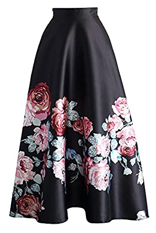 New Ladies Black Floral High Waist Flared Maxi Skirt Dress