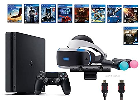 PlayStation VR Deluxe Bundle 12 Items:VR Headset,Playstation Camera,Motion,PS4 Slim-Uncharted 4,8 VR Game Disc:Rush of Blood,Valkyrie,Battlezone,Batman,DriveClub,Eagle, RIGS,Res(Version US, Importée)