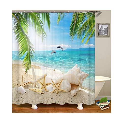 DOLOVE Polyester Duschvorhang Antischimmel Waschbar Vintage 180X200 Strand Muschel Seestern Delphine Anti-Schimmel Duschvorhang -