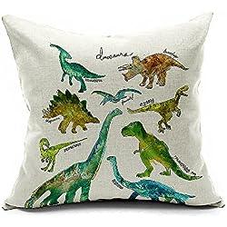 """aobik Multi dinosaurios animales Lino y Algodón Cuadrado Decor Throw funda de almohada juego de 18""""x18"""" Tamaño 1Funda de cojín, color blanco"""