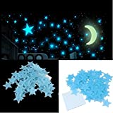 Stickonn Blue Colour Fluorescent Glow In The Dark Star Wall Sticker(60 Stars And 1 Moon,Size: 3.5 x3.5 cm)