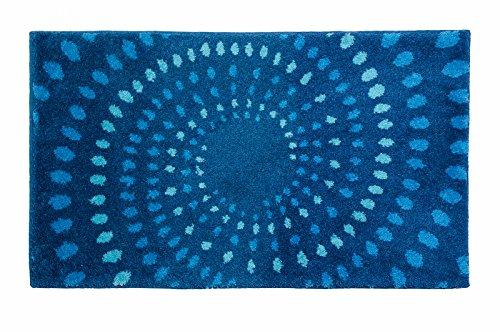 SCHÖNER WOHNEN-Kollektion, Mauritius, Badteppich, Badematte, Badvorleger, Design Kreise - blau, Oeko-Tex 100 zertifiziert, 60 x 100 cm