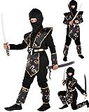 Magicoo Drago Ninja Costume per Bambini Ragazzi Nero Oro Taglie: 4-12 Anni - Costume di Carnevale Travestimenti Ninja Ragazzo (7-9 Anni)