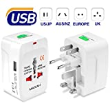 Adaptateur de voyage pour plus de 150 pays et région MAXAH voyage adaptateur usb avec 1 port USB Tout en un adaptateur adapteur international All in One Universal World Wide Travel Adapter pour Union Européenne UK Australie Etats-unis Japon etc 1 A BLANC