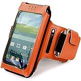 Tuff-Luv Uni-SE x taille unique Brassard de sport/ Sportsband étui amovible réglable pour Smartphones (iPhone 5s / SE Y compris / 5c / 6 Samsung Galaxy S3 S4 S5 / HTC One M7 M8 / Nexus 4 5 / Nokia Lumia) - Orange