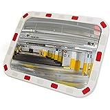 Miroir convexe de signalisation de sécurité de forme rectangulaire 60x40 cm par PrimeMatik