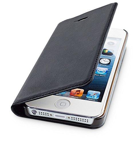 WIIUKA Echt Ledertasche - TRAVEL - für Apple iPhone 5 / 5S / SE mit Kartenfach, extra Dünn, Tasche Schwarz Premium Design Leder Hülle