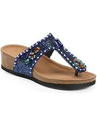 Ideal Shoes - Nu-pieds pailleté et incrusté de strass Andrienne