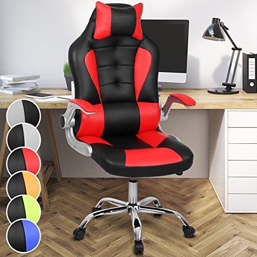 Miadomodo Bürodrehstuhl Bürosessel Gaming Computer Schreibtischstuhl mit verstellbarer Armlehne in in der Farbe nach Ihrer Wahl (Rot)