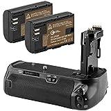 Green Extreme BG-E14 Battery Grip + 2-Pack High Capacity 2000mAhLP-E6/LP-E6N Batteries, Replacement For Canon EOS 70D / 80D Digital SLR Camera