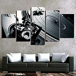 LHKAVE Peintures sur Toile Décor À La Maison Imprimer HD Bar De La Salle De Bal Affiche 5 Pièce DJ Instrument de Musique Platine Images Mur Art,A,40x60x2+40x80x2+40x100x1