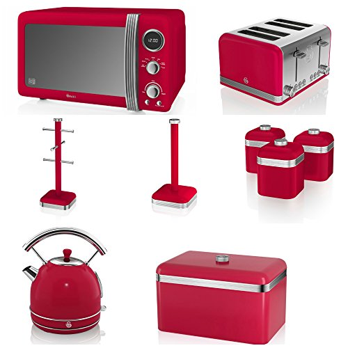 Swan Red Kitchen Appliance Retro Set Of 9 - Red Retro Digital Microwave, 20 Litre, 800 Watt, Red 1.7 Litre Dome Kettle & Red Retro Stylish 4 Slice Toaster, Retro Bread Bin, 3 Canisters, Towel Pole And 6 Mug Tree Set