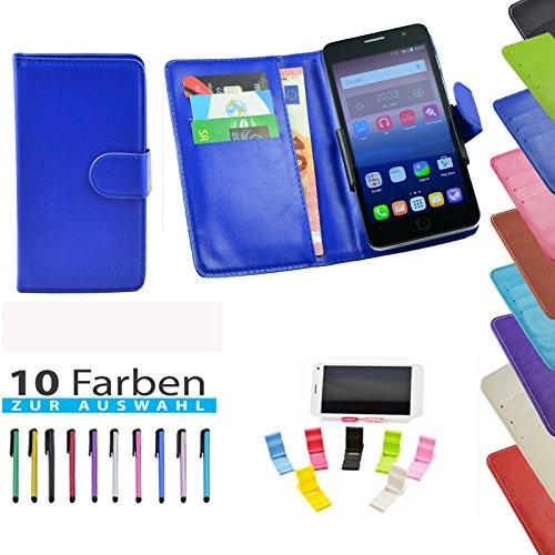 ikracase 5 in 1 Set Hülle Slide Handyhülle für TP-Link Neffos C5 Max Smartphone Hülle Tasche Case Cover Schutzhülle Handytasche Etui in Blau - 5,5