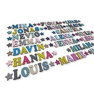 Kleine Holzbuchstaben 4,5cm hoch, Dekobuchstaben, in tollen Farbkombinationen I Inkl. 2 Sternen sowie Klebepads I Perfekt zum Basteln und Dekorieren