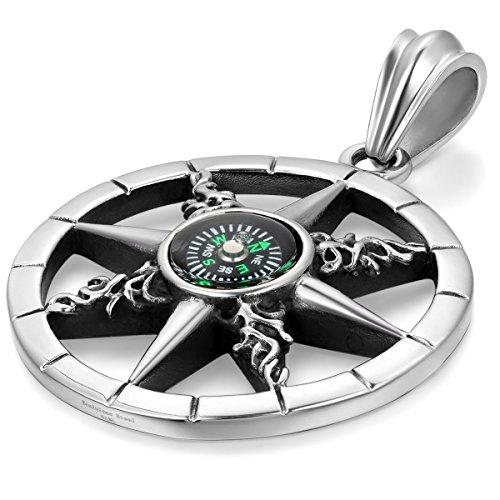 JewelryWe Schmuck Edelstahl Retro Kompass Rad des Lebens Herren-Anhänger mit 55cm Kette, Biker Halskette, Schwarz Silber (Für 2019 Coole Halloween-ideen)