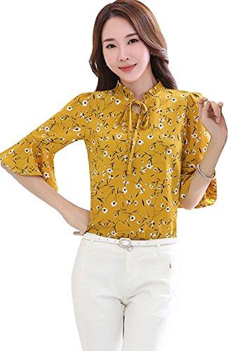 ONECHANCE Frauen-Chiffon- halbe Hülsen-Weinlese-Blumendruck-elegante dünne Blusen Farbe Gelb Größe 2XS