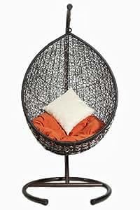 Hängesessel NOVELLA aus Polyrattan mit Gestell und 2 Kissen