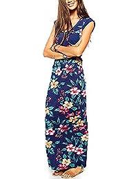 HanLuckyStars Vestido Largo Casual Mujer,Vestido Plisado Playa de Estilo Bohemio con Mangas 3/4 Cintura Elástica sin Patrón (Azul)