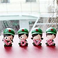pengweiLinda pequeños adornos dormitorio soldado muñeca de la resina creativa