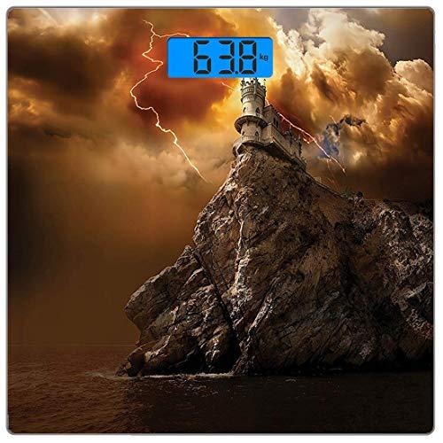 Digitale Präzisionswaage für das Körpergewicht Platz Lake Set Ultra dünne ausgeglichenes Glas-Badezimmerwaage-genaue Gewichts-Maße,Fantasy Castle auf der Klippe mit Blitz übernatürlichen Ort Fiction P