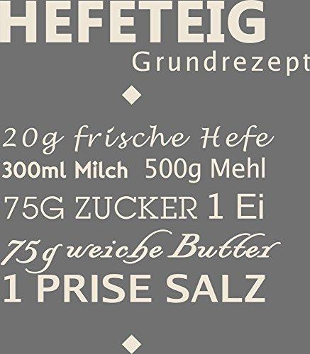 GRAZDesign 300036_40_WT816 Wandtattoo Rezept für Küche Hefeteig Küchentattoo/Deko für Küchenwand (46x40cm//816 Antique White)