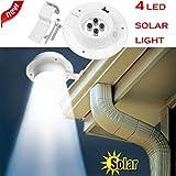 Wanshop® LED-Solar-Licht mit Bewegungsmelder, 4-in-1, wasserdicht, mit Sonnenenergie, Sicherheits-Licht, für den Außeneinsatz, helles Licht für den Garten, Zaun, Terrasse, Veranda, Hof, Haus, Auffahrt, Treppen, Außenwand usw. weiß