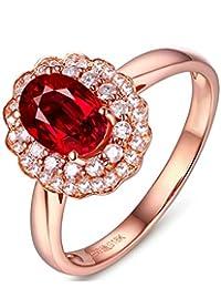 36bb777e3ad6 Blisfille Anillo de Compromiso Oro Blanco y Diamantes Joyería Anillo 18  Kilates de Turmalina Sangre de Paloma…