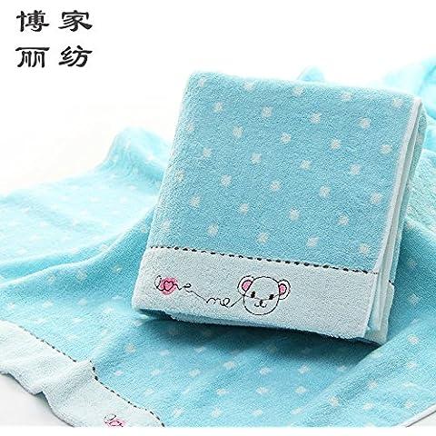 Alta qualità pura asciugamano in cotone ricamato orso fumetto pois