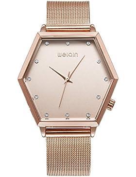 Souarts Damen Armbanduhr Einfach Mesh Metallarmband Casual Analoge Quarz Uhr Rose Gold Farbe 23cm