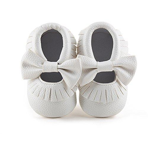 Delebao Babyschuhe Krabbelschuhe Leder Baby Lauflernschuhe Neugeborene Erste Schuhe Lederschuhe Weiche Sohle mit Quaste und Bowknot 12-18 Monate Weiß (Weiß Baby Schuhe Leder)