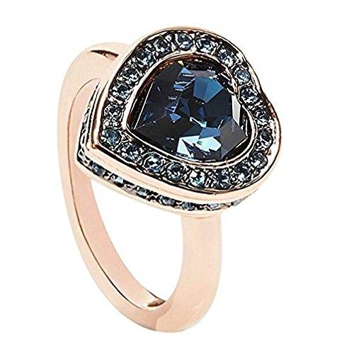 Guess Damen-Ring Herz Messing Glas Weiß - UBR28509