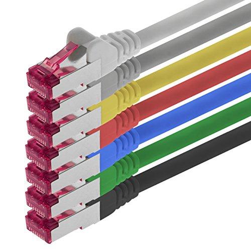 1aTTack.de 0,25m - 7 Farben - 7 Stück - Netzwerkkabel CAT6a (10Gb/s) S-FTP CAT 6a Lankabel - GHMT Zertifiziert PIMF 500 MHz kompatibel zu CAT 5e CAT 6 CAT7 für Switch, Router, Modem, Internet - 500 Mhz Patch-kabel