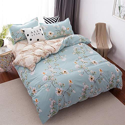 UOUL Bettwäscheset Baumwolle Verblasst Nicht Streifen Jugend Nachthimmel Mode Einfacher Komfort Ausgestattet Shee Männer Und Frauen Schlafzimmer XL Twin King,Blue,Queen -