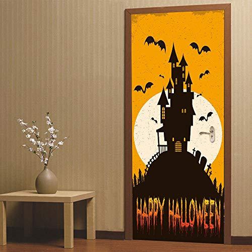 Halloween Fledermaus Halloween Schwarz Fledermaus Kreative 3d Tür Aufkleber Persönlichkeit Dekoration 77 * 200 cm