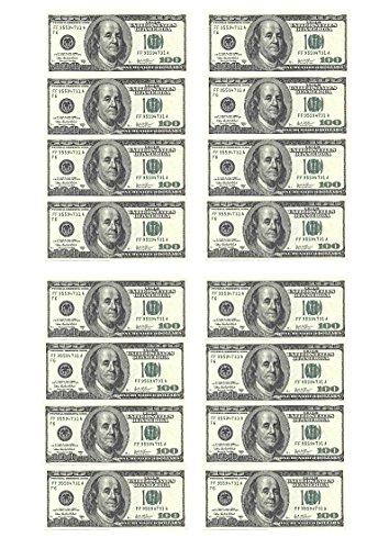 16x Tortendekoration aus Esspapier, Motiv: Dollarnote, für Cupcakes, Kuchen, Geburtstag, Feiern