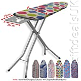 HIGHLANDS DELUXE WIDE METAL IRONING BOARD 10STEP HEIGHT ADJUSTABLE IRON RACK