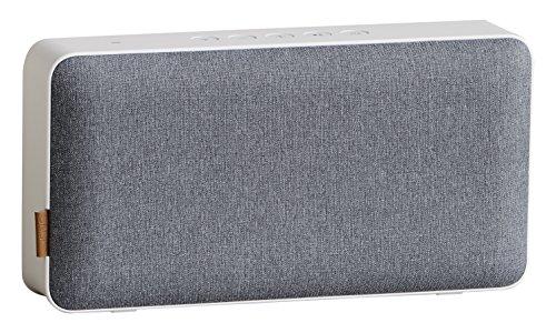 SACKit - MOVEit Lautsprecher WiFi & Bluetooth - Kompakter Bluetooth-Lautsprecher im dänischen Design - WLAN-Lautsprecher geeignet für Smartphone, Tablet oder PC - weiß und grau (Bluetooth Lautsprecher Wifi)