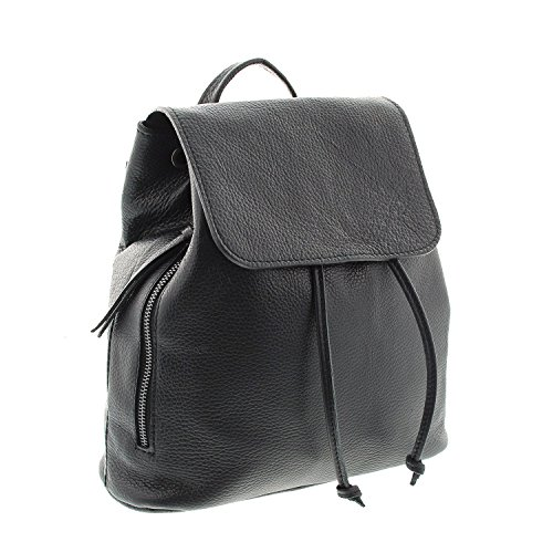 IO.IO.Mio Ital. Rucksack für Damen echt Leder Leichter Tagesrucksack Daypack Frauen Lederrucksack Damenrucksack erhältlich schwarz