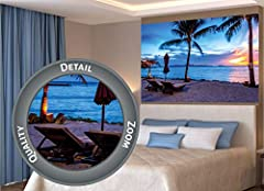 Idea Regalo - Great Art Twilight Crepuscolo Tramonto sulla Spiaggia, circondato da Palme e Sabbia fotomurale by XXL Poster Decorazione da Parete by (140 x 100 cm)