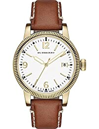 De oro-tono de Burberry reloj de mujer de cuero de Tan BU7852