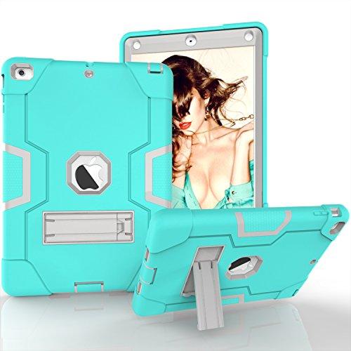 iPad Air Hülle, Dteck [Kippständer] Stoßfest [Corner / Bumper Schutz] [Grip] Rugged Hybrid Stoßdämpfend Schwerlast Schutzhülle für Apple iPad Air 1st Generation A1474/ A1475/ A1476, Aqua & Grau