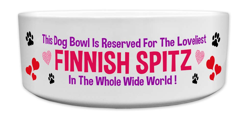 'This Dog Bowl Is Reserved For The Loveliest Finnish Spitz In The Whole Wide World', Dog Breed Theme, Ceramic Bowl, Size 176mm D x 72mm H approximately.