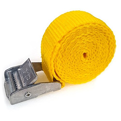 1 x Lifting straps cam buckle 500mm x 25mm Yellow / 250kg Cargo luggage roof rack strap Test