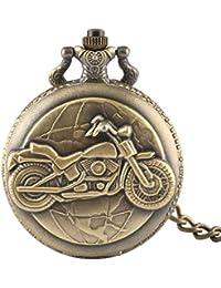 Herren Taschenuhr, Bronze Motorrad dicke Kette Taschenuhr Halskette Anhänger Herren Mann Geschenk, Geschenk für Männer
